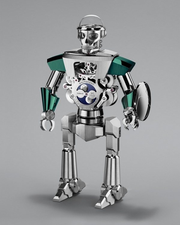 MB&F Balthazar Two-Faced Robot Clock Green