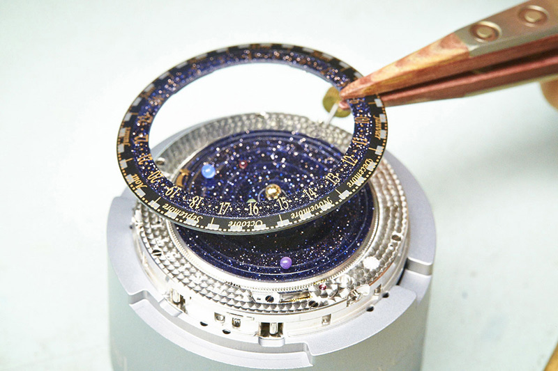 Van Cleef & Arpels Midnight Planetarium Poetic Complication Watch Front Construction