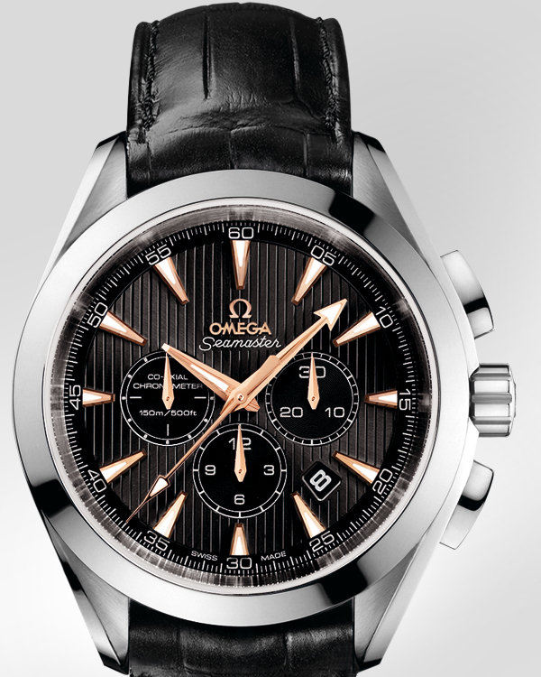Omega Seamaster Aqua Terra Chronograph Watch Gold Leather
