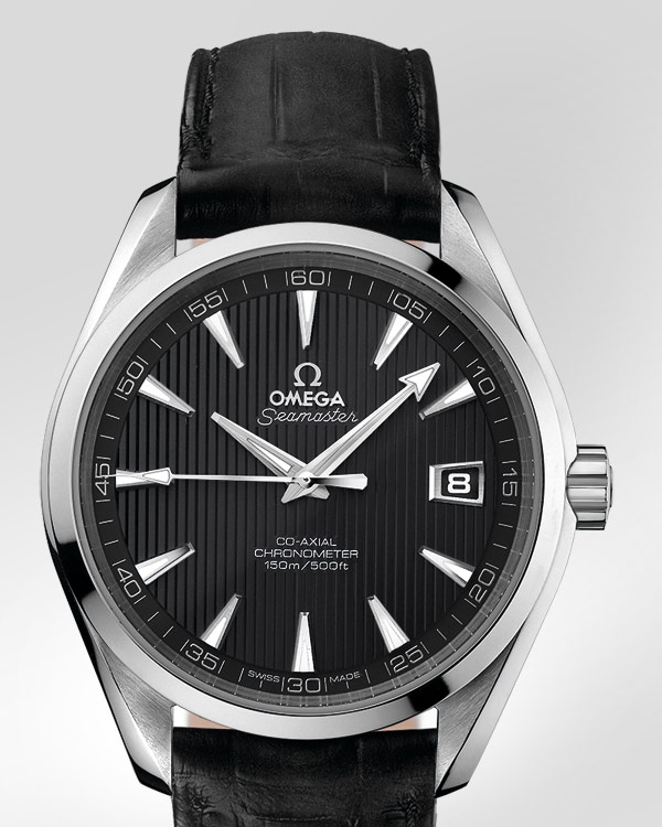 Omega Seamaster Aqua Terra Chronometer Watch Steel Leather