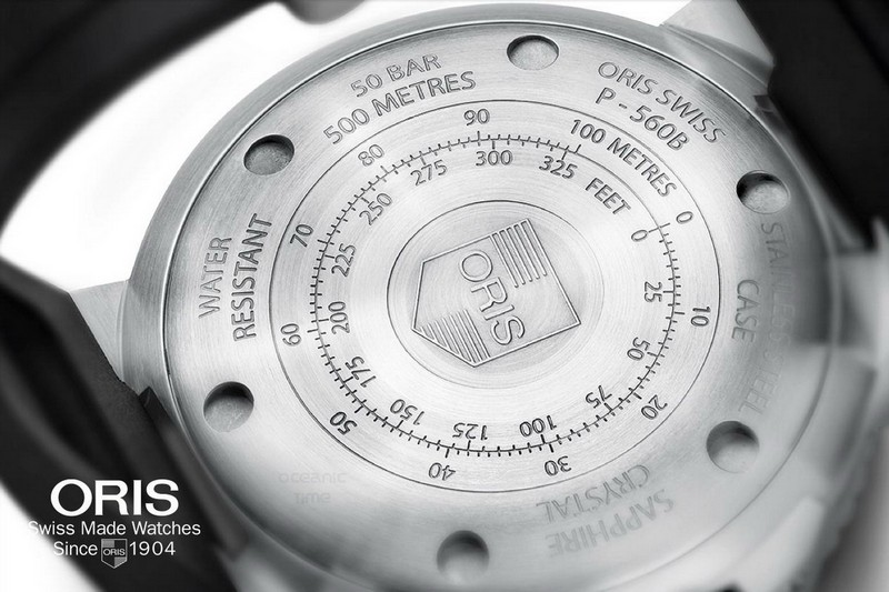 Oris Aquis Dept Gauge Diving Watch Caseback