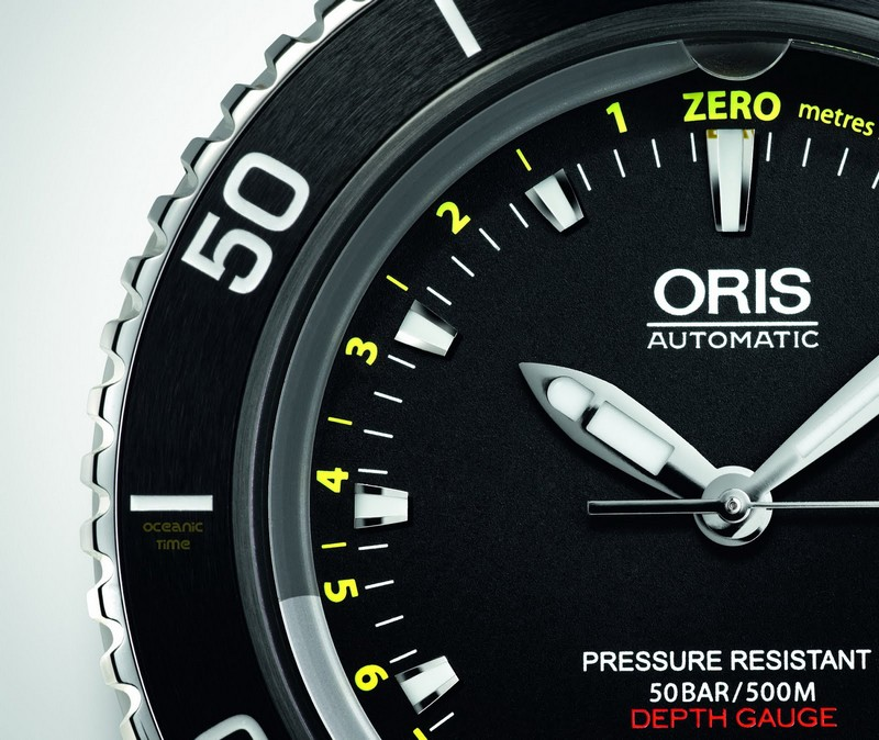 Oris Aquis Dept Gauge Diving Watch Dial