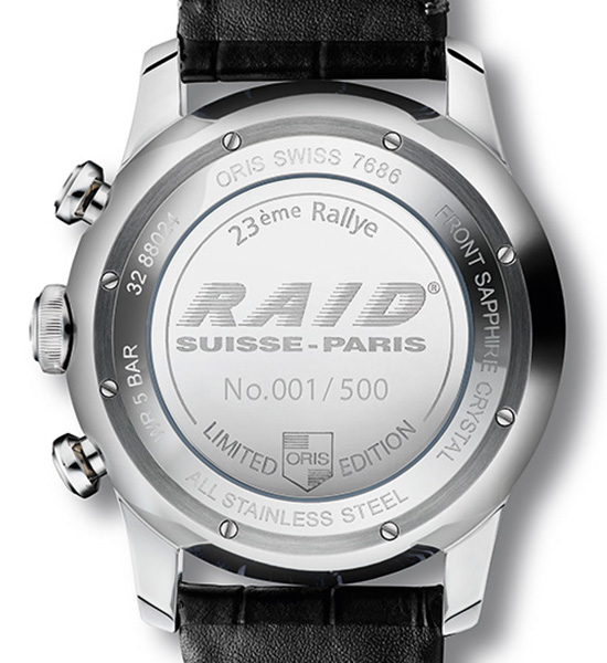 Oris RAID 2013 Limited Edition Watch Case Back