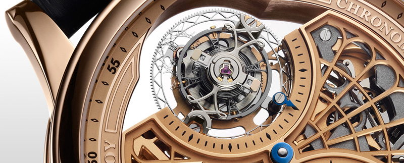 L.Leroy Osmior Skeleton Automatic Tourbillon Regulator Watch ll108-1 Dial Detail