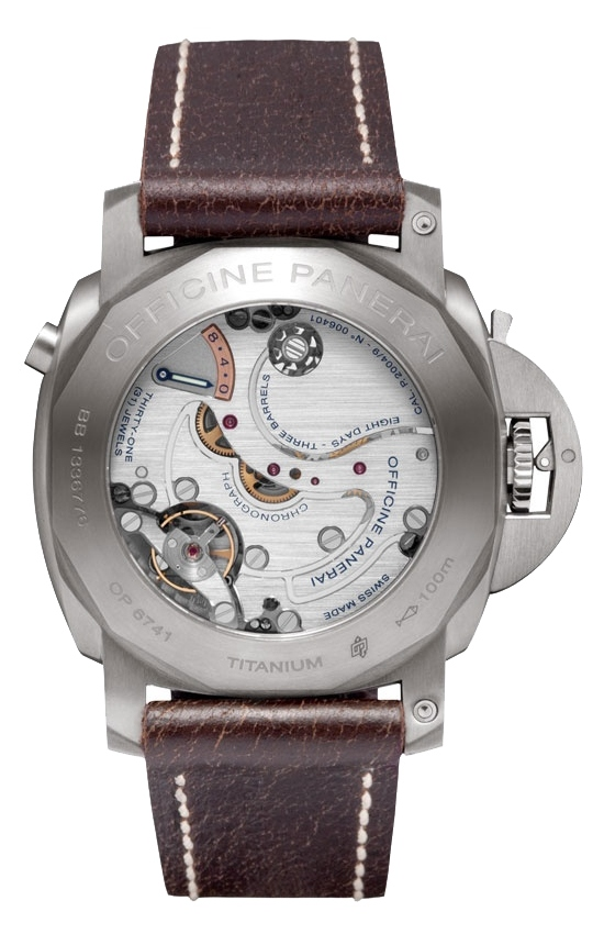Panerai Luminor 1950 Chrono Monopulsante Left-handed 8 Days Titanio 44mm PAM00345 Watch Caseback