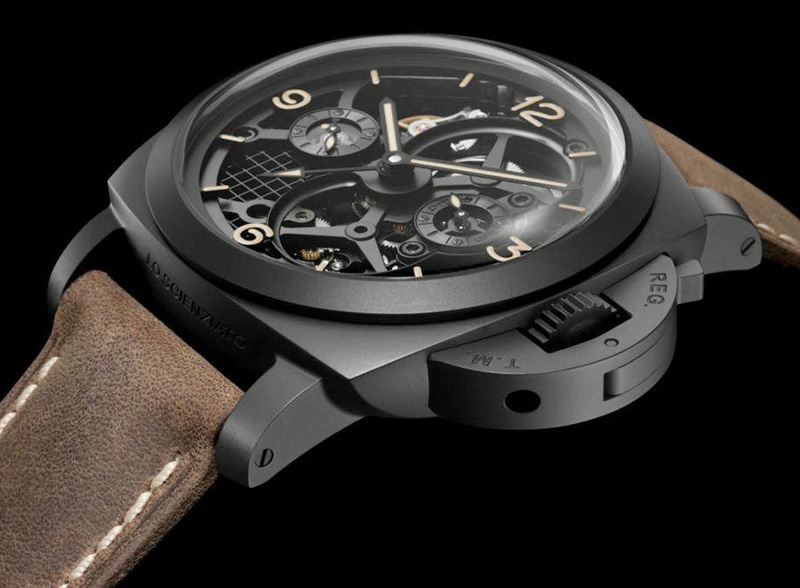 Panerai Lo Scienziato Luminor 1950 Tourbillon GMT Ceramica Watch Side