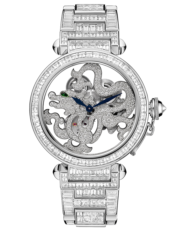 Pasha de Cartier Skeleton Dragon Motif Watch