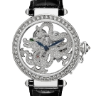 Pasha de Cartier Skeleton Dragon Motif Black Leather Watch