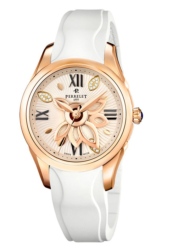 Perrelet New Diamond Flower Watch White Rubber