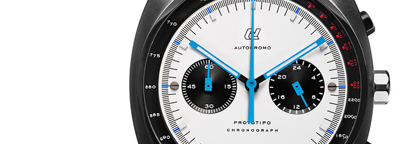 Autodromo Prototipo Chronograph White Dial Watch Detail