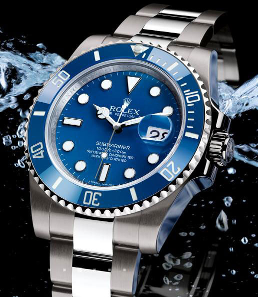 Rolex Oyster Perpetual Submariner Diving Watch White Gold