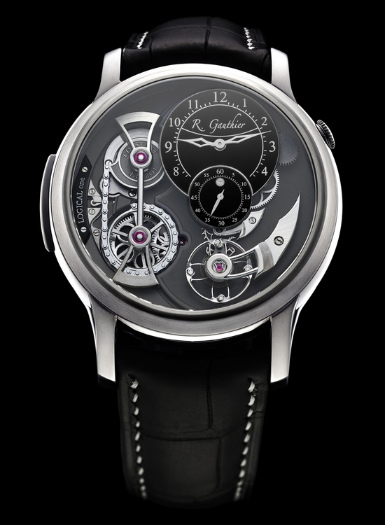 Romain Gauthier Logical One Natural Titanium Black Enamel Dial Watch Front
