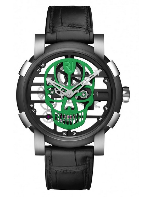 Romain Jerome Skylab 48 Speed Metal Skull Watch Green Skull
