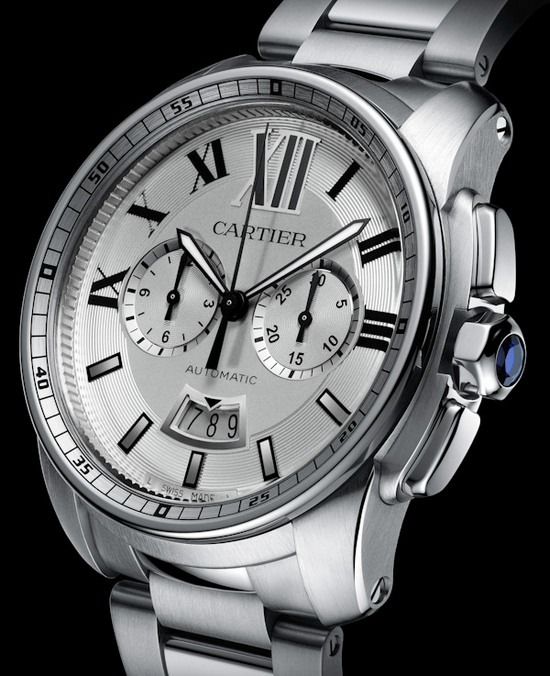Cartier Calibre Chronograph Watch Stainless Steel