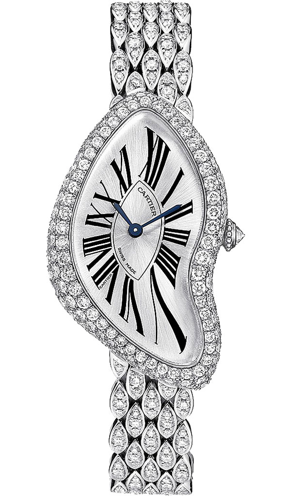 Cartier Crash Diamond White Gold Watch With Gem Set Bracelet