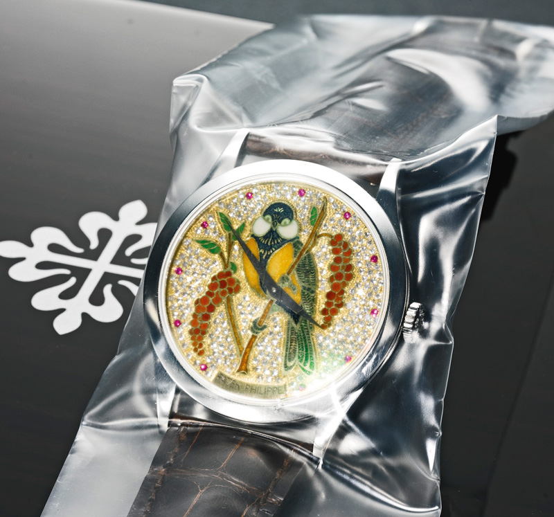 Patek Philippe Platinum Automatic Parrot Enamel With Diamonds Watch
