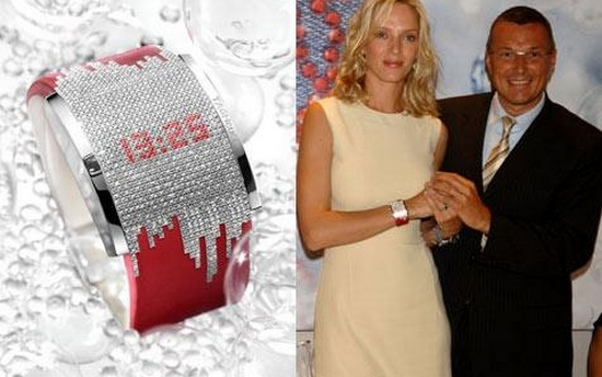 Uma Thurman Tag Heuer Diamond Fiction Ladies Watch