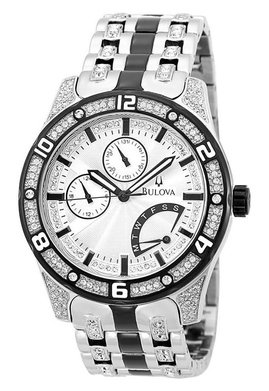 the glittering bold timepiece bulova crystal men s watch watch bulova crystal men s 98c103 watch front