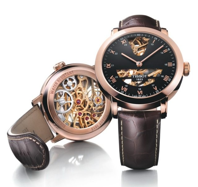 Tissot T-Gold Sculpture Line Skeleton Watch