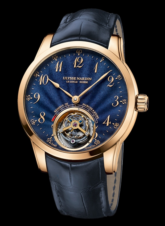 Ulysse Nardin Anchor Tourbillon Rose Gold Watch with Blue Enamel Dial aaa6b81f4dac