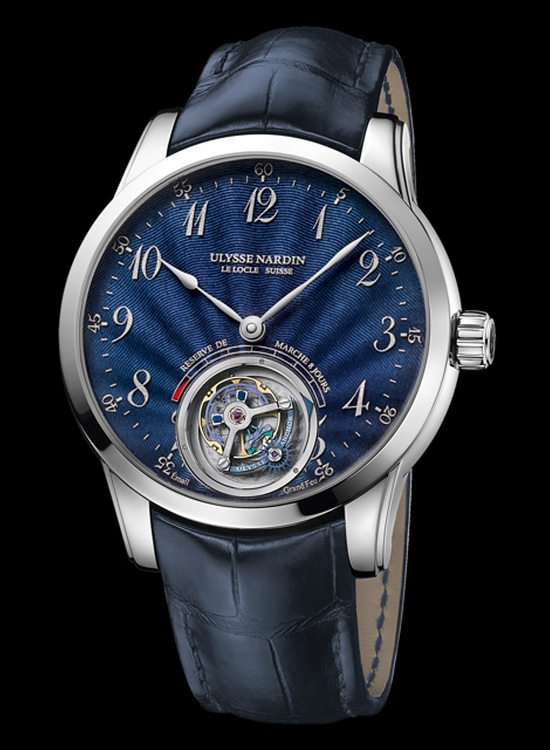 Ulysse Nardin Anchor Tourbillon White Gold Watch with Blue Enamel Dial