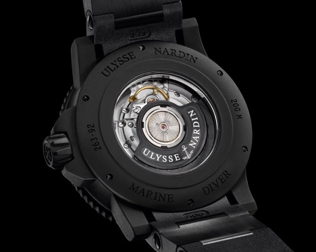 Ulysse Nardin Marine Diver Black Sea with Yellow Details Watch Caseback