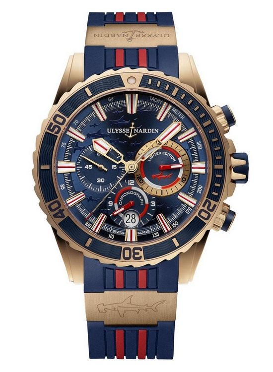 Ulysse Nardin Diver Chronograph Hammerhead Shark Watch Rose Gold