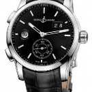 Ulysse Nardin Dual Time Manufacture Leather Watch Black Dial