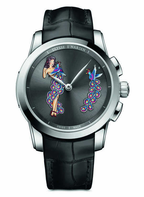 Ulysse Nardin Hourstriker Pin-Up Platinum Watch Front
