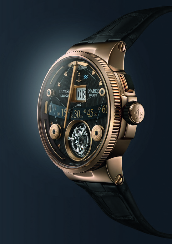 Ulysse Nardin Marine Grand Deck Tourbillon Rose Gold Watch Profile