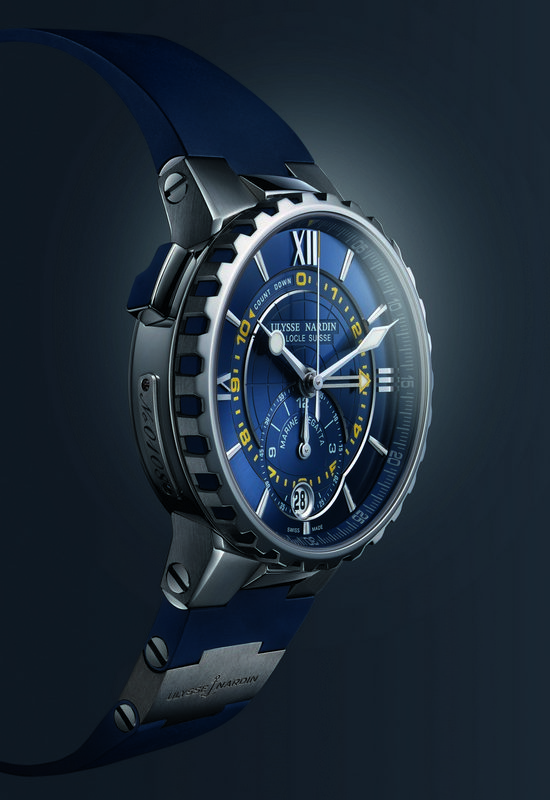 Ulysse Nardin Marine Regatta Chronograph Watch Blue Profile