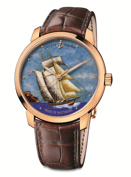 Ulysse Nardin Pride of Baltimore Classico Cloisonné Watch Rose Gold
