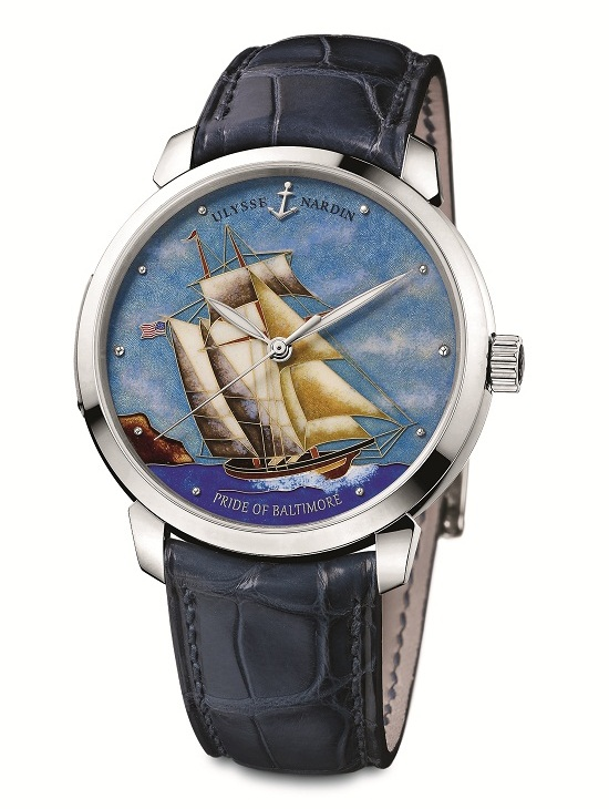 Ulysse Nardin Pride of Baltimore Classico Cloisonné Watch White Gold