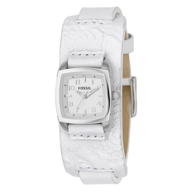 Fossil Embossed Leather Silver Dial Watch