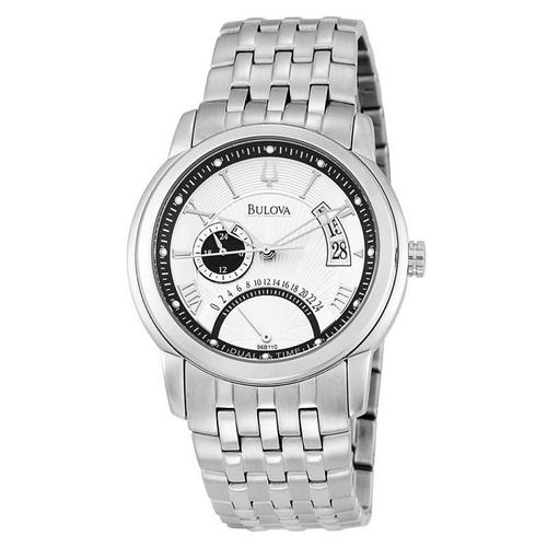 Bulova Dress Dual-Time Sunray Dial Watch