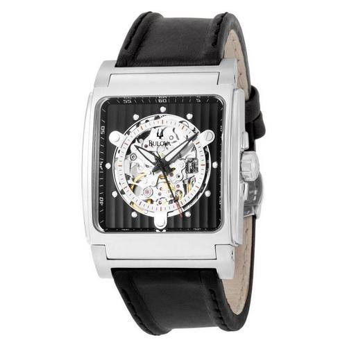 Bulova Mechanical Skeleton Black Dial Square Watch