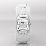 Fossil Embossed Leather Silver Dial Watch JR1159