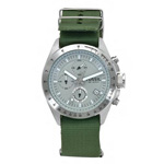 fossil decker nylon green strap chronograph dial watch front