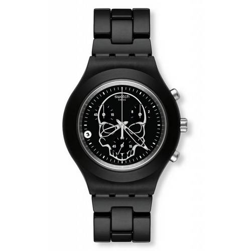 Swatch Full-Blooded Black Skull Watch
