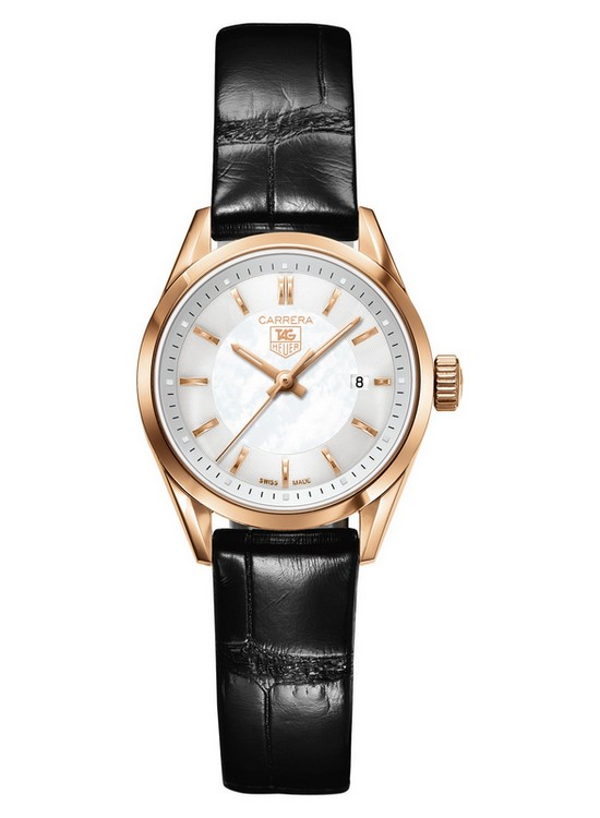 Tag Heuer Ladies' Carrera 27mm Rose Gold Watch Black Strap