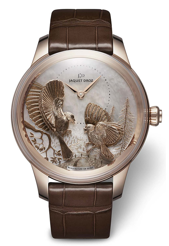 Jaquet Droz Petite Heure Minute Relief Seasons Red Gold Watch