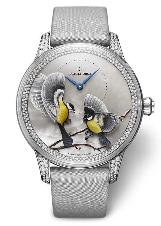 Jaquet Droz Petite Heure Minute Relief Seasons White Gold Watch