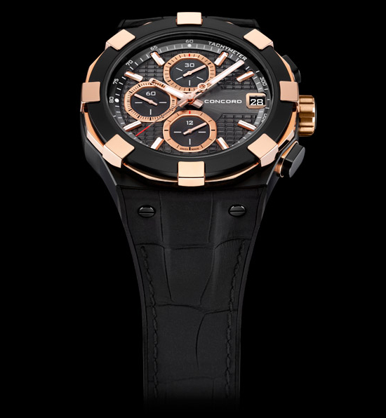 Concord C1 Chronograph Black and Gold Watch