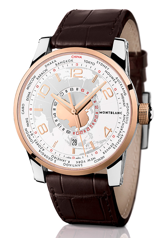 Montblanc Time Walker World Time Sinosphere Leather Strap Watch