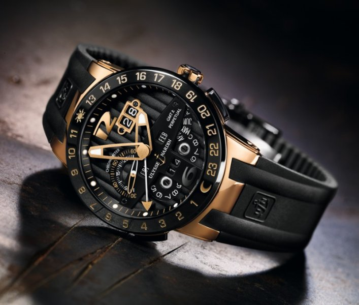 Ulysse Nardin Black Toro Rubber Strap Watch