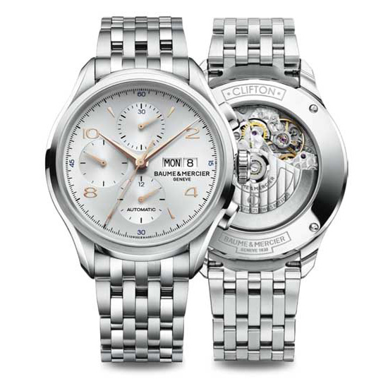 Baume & Mercier Clifton Chronograph Watch Front And Back