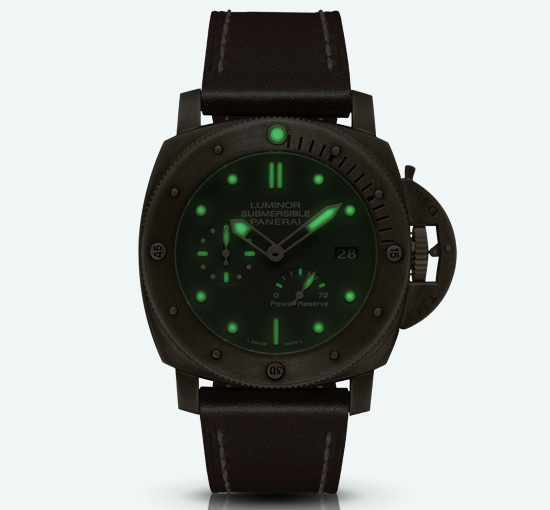 Panerai Luminor Submersible 1950 Automatic Bronzo Watch Nightview