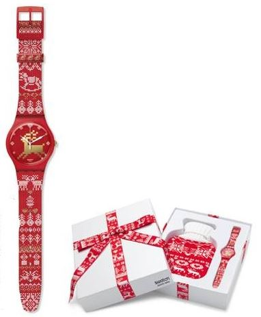 Swatch Red Knit Watch And Box