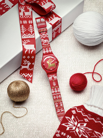 Swatch Red Knit Watch