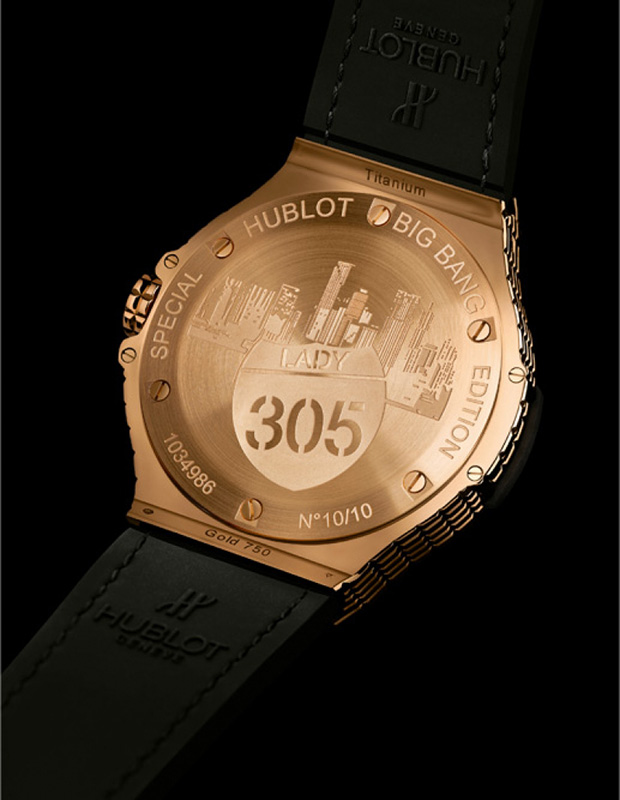 "Hublot Big Bang Caviar ""Lady 305"" Gold Watch Caseback"
